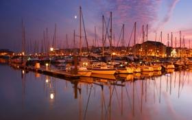 Обои закат, город, яхты, катера, Plymouth, England, яхт-клуб