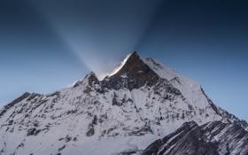 Картинка зима, снег, гора, вершина, пик