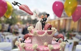 Обои воздушные шары, атака, торт, языки, невеста, крем, кроссовки