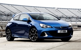 Обои синий, Опель, Vauxhall, передок, трибуны, Astra, хетчбек