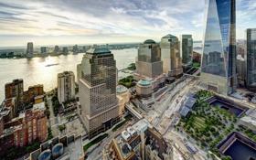 Обои здания, Нью-Йорк, панорама, Манхэттен, Manhattan, New York City, Hudson River