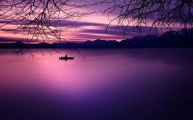 Картинка пейзаж, закат, горы, озеро, сумерки
