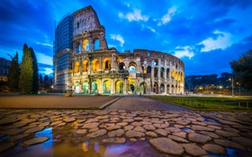 Обои Italy, Colosseum, Rome, Blue Hour, Reflection