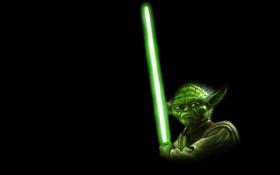 Картинка зеленый, меч, лазер, звездные войны, star wars, джедай, yoda