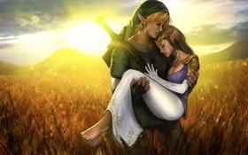 Обои пшеница, поле, девушка, закат, эльф, пара, парень