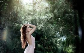 Картинка лес, лето, девушка, улыбка, настроение, азиатка