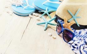 Картинка песок, пляж, лето, шляпа, очки, ракушки, summer