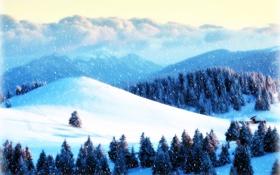 Обои зима, лес, снег, горы