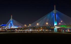 Картинка ночь, мост, огни, опора, USA, США, Boston