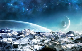 Картинка ice, science fiction, mountains, rocks, planets