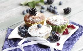 Картинка макро, ягоды, еда, фрукты, кексы, пироженое, маффины