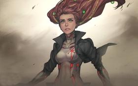 Картинка девушка, ветер, волосы, valor