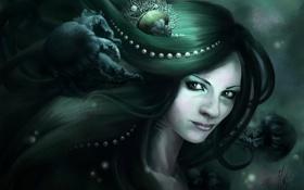 Картинка девушка, ракушка, арт, медузы, жемчуг, под водой