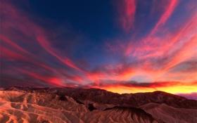 Обои закат, горы, небо