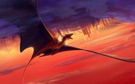 Картинка полет, тучи, дракон, арт, в небе
