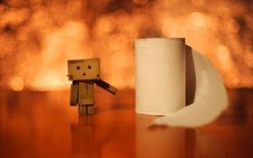 Картинка danboard, wallpaper, danbo, обои, человечек, туалетная, бумага