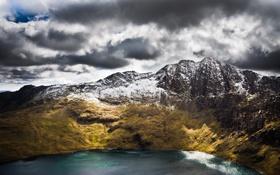 Обои море, вода, горы, океан, гора, Snowdon, wales