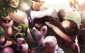 Картинка pokemon, девушка, зверюшки