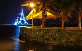 Картинка ночь, вьетнам, канатная дорога, винпеарл