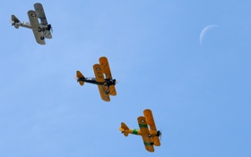 Картинка небо, самолёты, boeing pt17 stearman