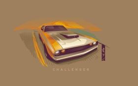 Картинка вектор, Dodge, Challenger, додж, muscle car, front, челленджер