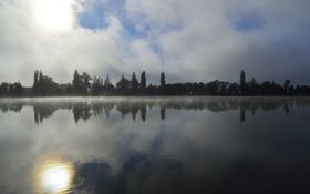 Картинка лес, река, солнце, озеро, деревья, туман, природа