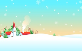 Обои снег, деревья, снежинки, холмы, деревенька