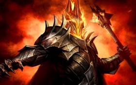 Картинка пламя, доспехи, воин, булава, Guardians of Middle-Earth, Lord of the Rings