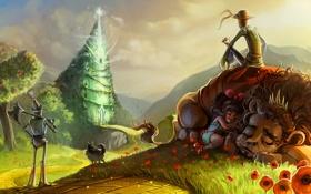 Картинка дорога, трава, деревья, птицы, маки, арт, чучело