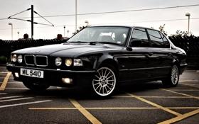 Обои бмв, черная, диски, классика, BMW 7 Series, бешка