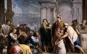 Обои картина, жанровая, Якопо Амигони, The Discovery of the Cup in Benjamin´s Bag