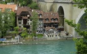 Обои деревья, мост, река, дома, Швейцария, опора, Берн