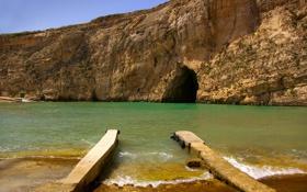 Обои Мальта, скалы, небо, пещера, Гозо, море, грот