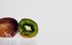 Обои вода, киви, фрукт, water, macro, fruit, kiwi
