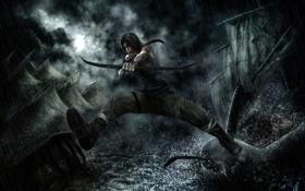 Картинка девушка, дождь, арт, Tomb Raider, Лара Крофт, Lara Croft