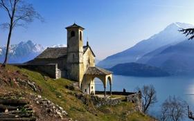 Обои горы, озеро, Италия, церковь, Ломбардия, Донго