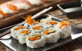 Картинка блюдо, начинка, японская кухня, роллы, морковь, кунжут