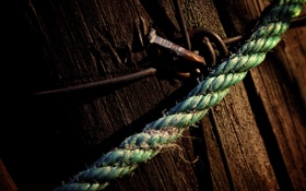 Картинка metal, rustic, wood, nail, wire, rope