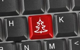 Обои праздник, елка, Новый Год, кнопки, Рождество, клавиатура, красная
