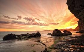 Картинка море, пляж, скалы, утро