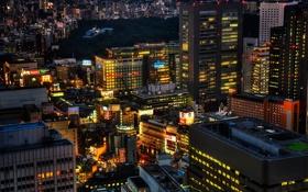 Картинка Токио, night, ночь, огни, lights, Япония, Japan
