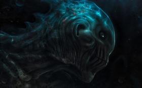 Обои море, темно, глубина, чудовище, под водой