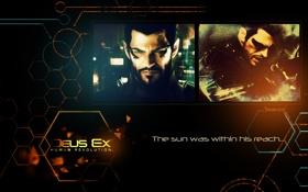 Обои deus ex, adam jensen, face, orange, blue, black