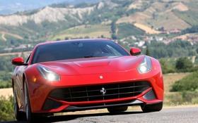 Обои воздухозаборник, ф12 берлинетта, Ferrari F12 berlinetta, фары, суперкар, феррари, red