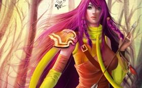 Обои девушка, лук, лучница, арт, стрела, розовые волосы