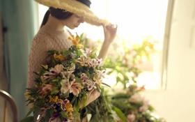 Обои девушка, цветы, фон