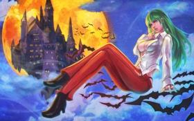 Картинка девушка, ночь, луна, арт, вампир, morrigan, darkstalkers
