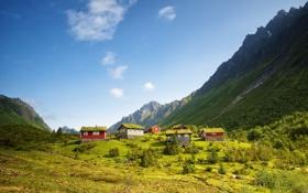 Картинка лето, пейзаж, горы, домики