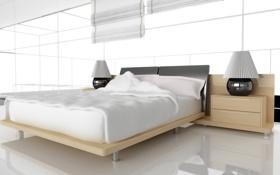 Картинка лампа, кровать, тумбочка, подушка, спальня