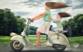 Обои девочки, дети, скорость, Vespa
